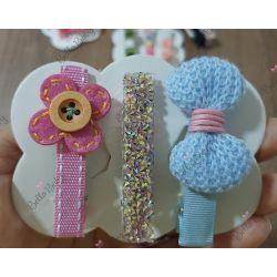 Trio hair clips rosa e azul bebê